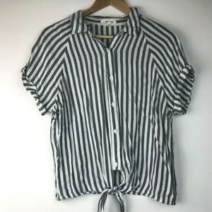 Bleuh Ciel szL Striped Button up Top Tie Front